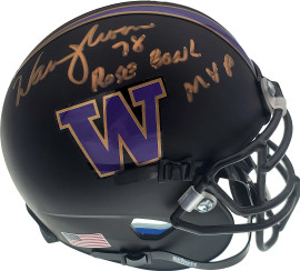 "Warren Moon Autographed Washington Huskies Matte Black Mini Helmet ""78 Rose Bowl MVP"" MCS Holo Stock #128014"