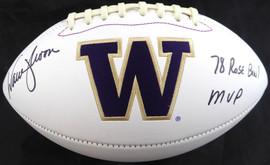 "Warren Moon Autographed Washington Huskies White Logo Football ""78 Rose Bowl MVP"" MCS Holo Stock #128015"