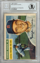 George Susce Jr. Autographed 1956 Topps Card #93 Boston Red Sox Beckett BAS #10265625