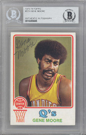 Gene Moore Autographed 1973-74 Topps Card #223 San Diego Conquistadors Beckett BAS #10265685