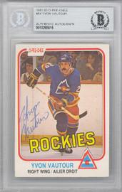 Yvon Vautour Autographed 1981-82 O-Pee-Chee Card #84 Colorado Rockies Beckett BAS #10265815