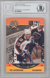 Pat LaFontaine Autographed 1990-91 Pro Set Card #372 New York Islanders Beckett BAS #10265947
