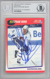 Stephane Morin Autographed 1991-92 Score Rookie Card #254 Quebec Nordiques Beckett BAS #10266254