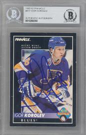 Igor Korolev Autographed 1992-93 Pinnacle Rookie Card #417 St. Louis Blues Beckett BAS #10266350