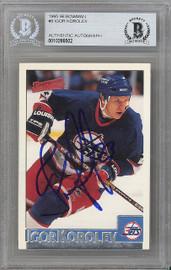 Igor Korolev Autographed 1995-96 Bowman Card #9 Winnipeg Jets Beckett BAS #10266502