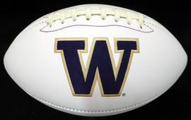 Unsigned Washington Huskies White Logo Football Stock #128888