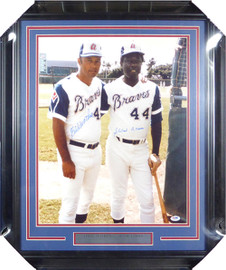 Hank Aaron & Eddie Mathews Autographed Framed 16x20 Photo Atlanta Braves PSA/DNA #X30528