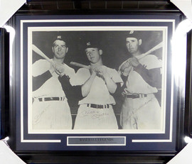 Mickey Mantle, Joe DiMaggio & Ted Williams Autographed Framed 16x20 Photo JSA #Z42381