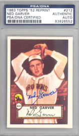 Ned Garver Autographed 1983 Topps 1952 Reprint Card #212 St. Louis Browns PSA/DNA #83826552