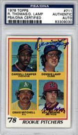 Roy Thomas & Dennis Lamp Autographed 1978 Topps Card #711 PSA/DNA #83309030
