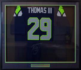 Seattle Seahawks Earl Thomas Autographed Framed Blue Nike Jersey MCS Holo Stock #130326