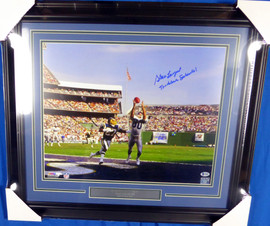 "Steve Largent Autographed Framed 16x20 Photo Seattle Seahawks ""Touchdown Seahawks!"" Beckett BAS Stock #130308"