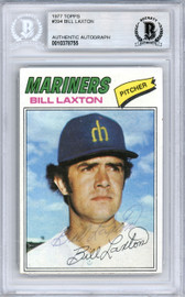 Bill Laxton Autographed 1977 Topps Card #394 Seattle Mariners Beckett BAS #10378755