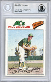 Paul Lindblad Autographed 1977 Topps Card #583 Oakland A's Beckett BAS #10378760