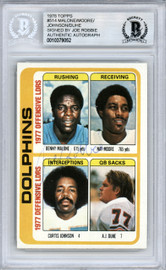 Joe Robbie Autographed 1978 Topps Card #514 Miami Dolphins Team Owner Beckett BAS #10379052