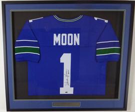 """Seattle Seahawks Warren Moon Autographed Framed Blue Jersey """"HOF 06"""" MCS Holo Stock #131916"""