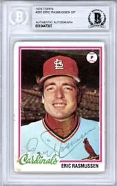 Eric Rasmussen Autographed 1978 Topps Card #281 St. Louis Cardinals Beckett BAS #10447307