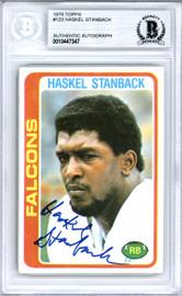 Haskel Stanback Autographed 1978 Topps Card #123 Atlanta Falcons Beckett BAS #10447347