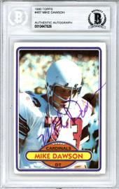 Mike Dawson Autographed 1980 Topps Card #487 St. Louis Cardinals Beckett BAS #10447826