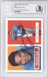 Charlie Ane Autographed 1994 1957 Topps Archives Card #56 Detroit Lions Beckett BAS #10448072