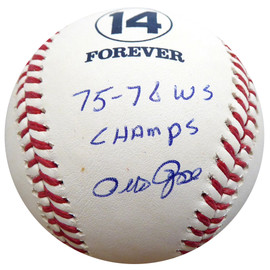 "Pete Rose Autographed Official MLB Forever 14 Baseball Cincinnati Reds ""75-76 WS Champs"" Beckett BAS #E94579"