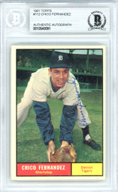 Chico Fernandez Autographed 1961 Topps Card #112 Detroit Tigers Beckett BAS #10540091