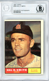 Hal Smith Autographed 1961 Topps Card #549 St. Louis Cardinals Beckett BAS #10540182