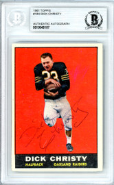 Dick Christy Autographed 1961 Topps Rookie Card #184 Oakland Raiders Beckett BAS #10540187