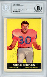 Mike Dukes Autographed 1961 Topps Rookie Card #144 Houston Oilers Beckett BAS #10540194