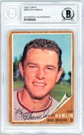 Ken Hamlin Autographed 1962 Topps Card #296 Washington Senators Beckett BAS #10540242