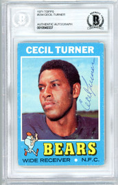 Cecil Turner Autographed 1971 Topps Rookie Card #234 Chicago Bears Beckett BAS #10540337