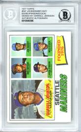 Darrell Johnson Autographed 1977 Topps Card #597 Seattle Mariners Beckett BAS #10540386