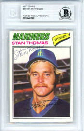 Stan Thomas Autographed 1977 Topps Card #353 Seattle Mariners Beckett BAS #10540388