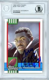 Tory Epps Autographed 1990 Topps Rookie Card #126T Atlanta Falcons Beckett BAS #10540648