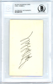 Carl Hubbell Autographed 2x3.5 Blank Business Card New York Giants Vintage Playing Days Signature Beckett BAS #10541074