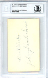"Johnny Vandermeer Autographed 2x3.5 Blank Business Card Cincinnati Reds ""Best Wishes"" Vintage Playing Days Signature Beckett BAS #10541080"