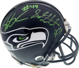 Shaquem & Shaquill Griffin Autographed Seattle Seahawks Mini Helmet In Green MCS Holo Stock #134372