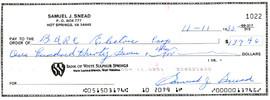 Sam Snead Autographed 3x8.5 Check SKU #135150