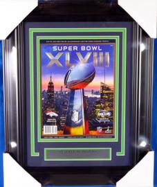Seattle Seahawks Super Bowl XLVIII Unsigned Framed Program Stock #135265