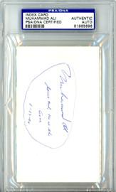 """Muhammad Ali Autographed 3x5 Index Card """"Serve God He Is The Goal 1-13-90"""" Vintage PSA/DNA #81965696"""