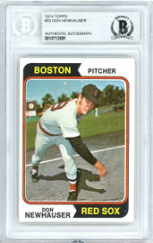 Don Newhauser Autographed 1974 Topps Card #33 Boston Red Sox Beckett BAS #10712091
