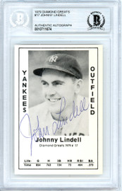 John Lindell Autographed 1979 Diamond Greats Card #17 New York Yankees Beckett BAS #10711674