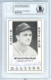 Willard Marshall Autographed 1979 Diamond Greats Card #43 New York Giants Beckett BAS #10711702