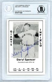 Daryl Spencer Autographed 1979 Diamond Greats Card #49 New York Giants Beckett BAS #10711625
