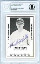 Fred Schulte Autographed 1979 Diamond Greats Card #52 Washington Senators Beckett BAS #10711627