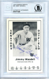 Jimmy Wasdell Autographed 1979 Diamond Greats Card #56 Washington Senators Beckett BAS #10711629