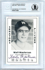 Walt Masterson Autographed 1979 Diamond Greats Card #68 Washington Senators Beckett BAS #10711639