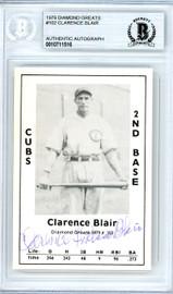 Clarence Blair Autographed 1979 Diamond Greats Card #102 Chicago Cubs Beckett BAS #10711516