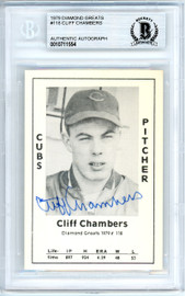 Cliff Chambers Autographed 1979 Diamond Greats Card #118 Chicago Cubs Beckett BAS #10711554