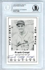 "Frank ""Creepy"" Crespi Autographed 1979 Diamond Greats Card #159 St. Louis Cardinals Beckett BAS #10711609"